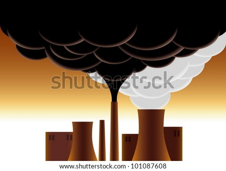 The factory chimney smoke pollution of the atmosphere - stock vector