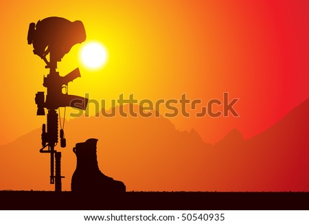 The Fallen Soldier Battle Cross. The soldier's rifle with bayonet attached stuck into the ground, helmet on top, dog tags on the rifle and the boots of the fallen soldier. - stock vector