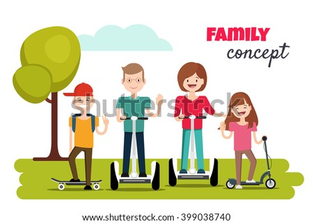 The family in the park on self-balancing electric scooters, segways.A happy family portrait of Parents and Children are having outdoor activities. Family concept. Vector illustration - stock vector