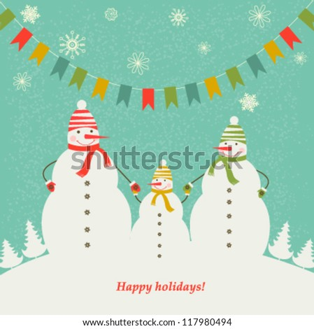 The family of snowmen. Christmas decorations.Vector - stock vector