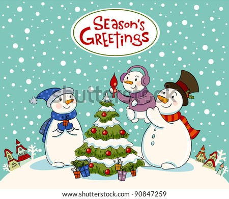 The family of snowmen dresses up a fur-tree - stock vector