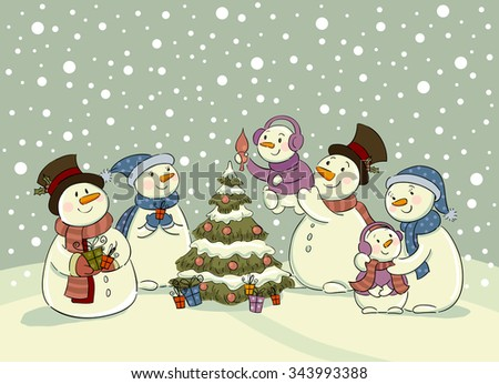 The family of snowmen dresses up a fur-tree , Vector illustration for banners, backgrounds and decorations. - stock vector
