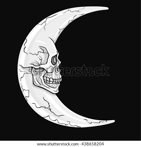 The fantastic crescent moon , in the form of a human skull. Esoteric symbol. The monochrome drawing isolated on a dark gray background. Vector illustration. - stock vector