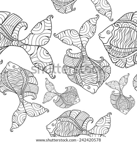 The fantastic fish. Seamless background with fantastic fish. - stock vector