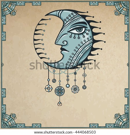 The fantastic image of the moon with a human face. Metal amulet. Esoteric symbol, boho design. Background - a frame from iron elements, imitation of old paper. Vector illustration.