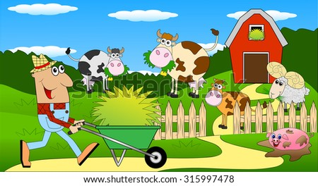 the farmer and the animals grazing on the green lawn ,vector illustration