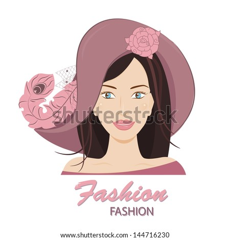 Vector the fashionable young lady in a huge hat with feathers vector