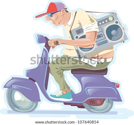 The fat bald-headed man with the boombox is riding the scooter. - stock vector