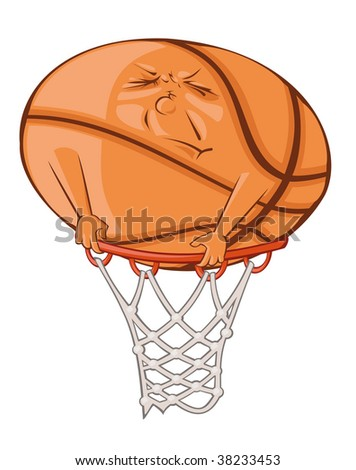 The fat ball is trying to get in the basketball basket. - stock vector