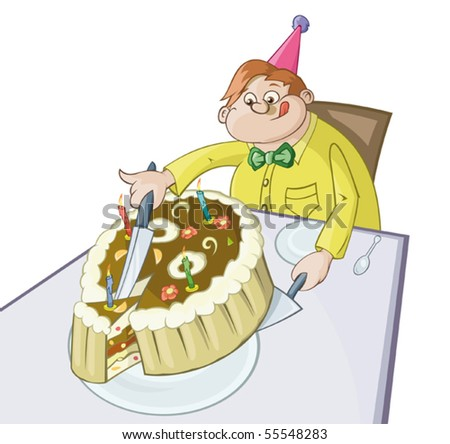 The fat man is cutting off the big piece of a pie. - stock vector