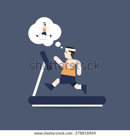 The fat man is running on Treadmill and he is thinking to lose weight by running. Vector illustration flat style. - stock vector