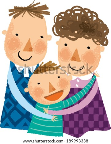 The father and mother are hugging a son  - stock vector