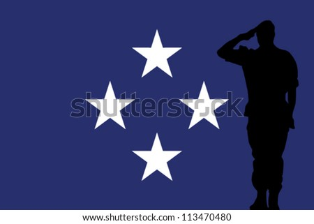 The Federal States of Micronesia flag and the silhouette of a soldier saluting