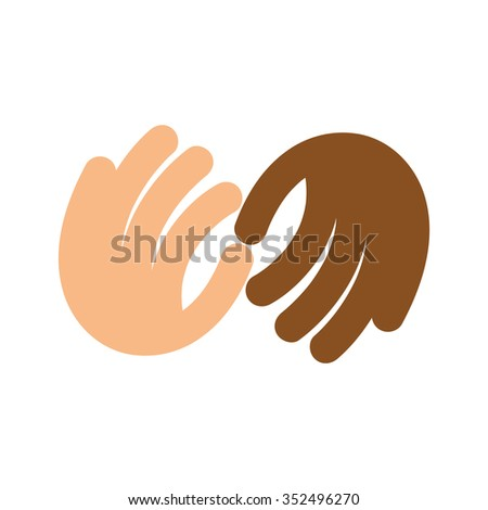 The fight against racism. Vector logo. No discrimination based on race. Touching fingertips. The palms. Arms. Illustration. Icon. The movement of the fingers. Union.