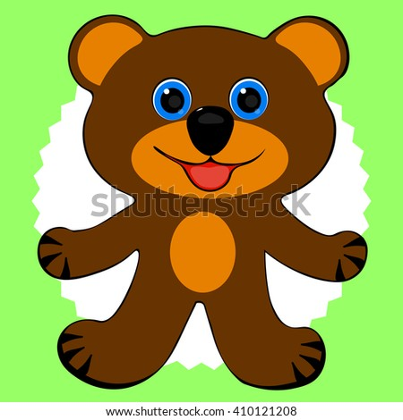 the figure of a smiling image of a fictional bear on a green background