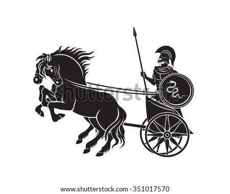 The figure shows a chariot with a gladiator - stock vector
