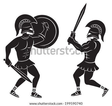the figure shows a fight between two gladiators - stock vector