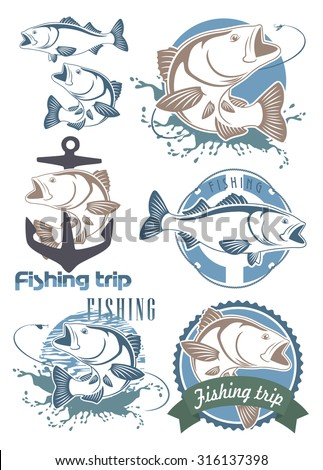 The figure shows a  fish bass - stock vector