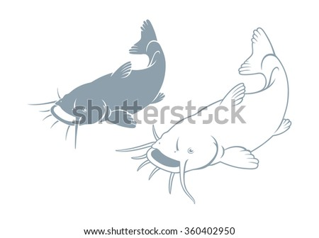 The figure shows a fish catfish - stock vector