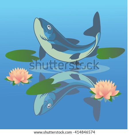 the figure shows a fish jumped out of the water - stock vector