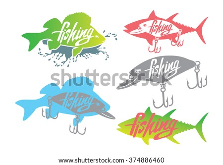 The figure shows a  fishing bass iogo - stock vector