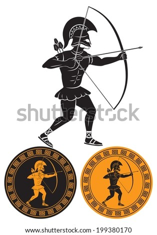 the figure shows a gladiator arrows - stock vector