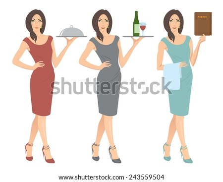 The figure shows a waitress - stock vector