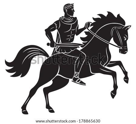 the figure shows Caesar on horseback - stock vector