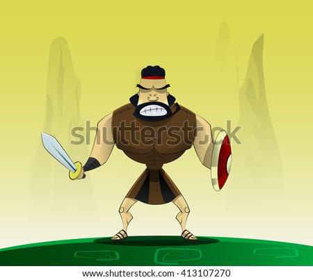 The figure shows cartoon warrior male. Roman gladiator in cartoon style. - stock vector