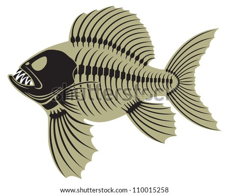 the figure shows prehistoric fish - stock vector