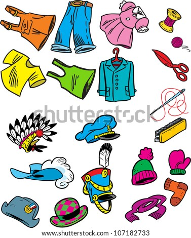 figure shows some types hats clothing stock vector royalty free