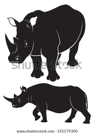 the figure shows the animal rhino - stock vector