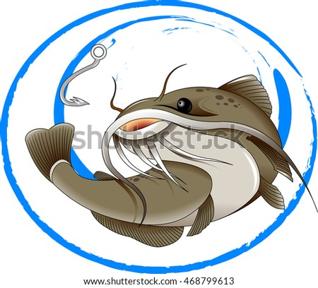 the figure shows the fish catfish, vector