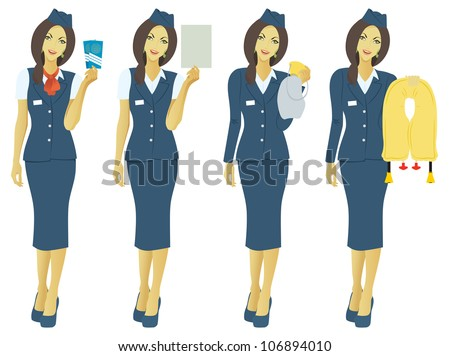 the figure shows the flight attendant - stock vector