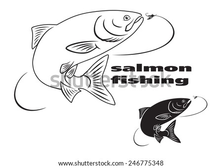The figure shows the icons on the theme of salmon - stock vector