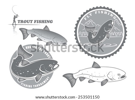 The figure shows the icons on the theme of trout fishing - stock vector
