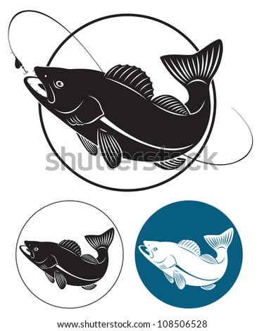 the figure shows the predatory fish - stock vector