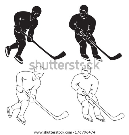 the figure shows the silhouette of a hockey player