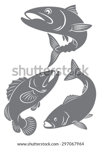 The figure shows the silhouettes of fish - stock vector