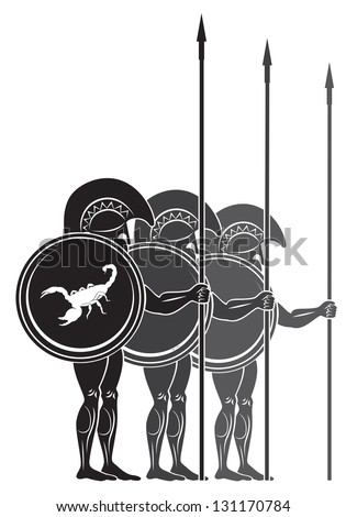 The figure shows the warriors with spears - stock vector