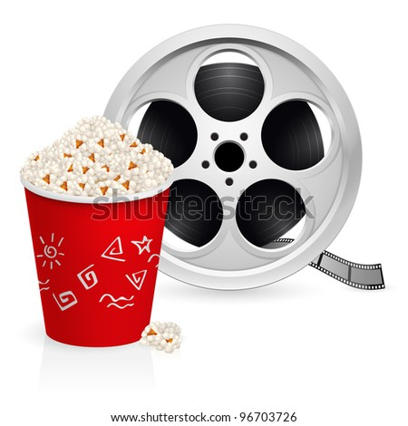 The film reel and popcorn. Illustration on white background
