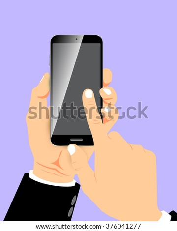 The fingers are touching the screen Smart phone in hand businessmen.