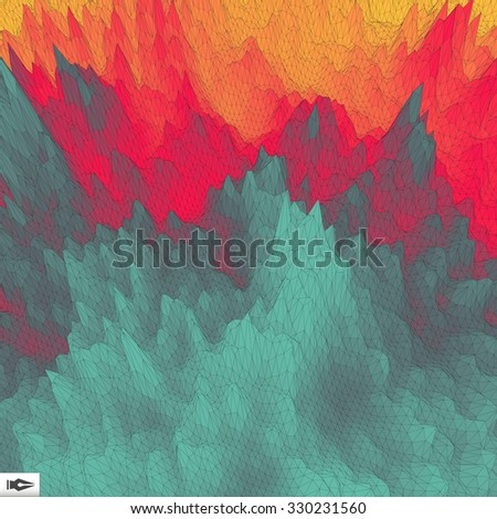 The Fire With Smoke. Mosaic. Vector Illustration. 3d Perspective Grid Background Texture. - stock vector