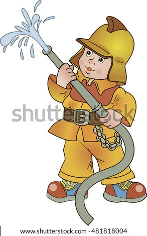 the fireman with a fire hose