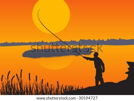The fisherman throws a fishing tackle against the coming sun. - stock vector