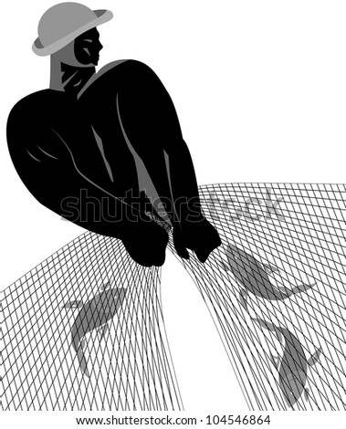 The fisherman with the catch in black and white on a white background - stock vector