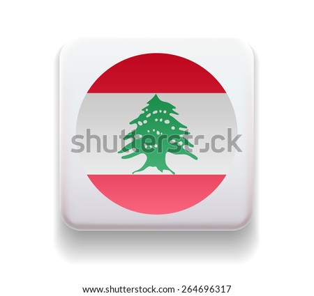 The flag is made in the form of a computer button for the web site. Illustration. Image. Icon. Vector. Flag of Lebanon