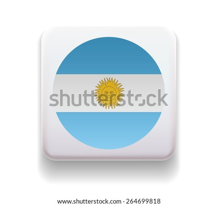 The flag is made in the form of a computer button for the web site. The national flag of the country. Illustration. Image. Icon. Vector. Flag of Argentina - stock vector