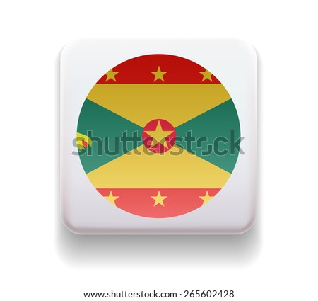 The flag is made in the form of a computer button for the web site. The national flag of the country. Illustration. Image. Icon. Vector. Flag of Grenada - stock vector