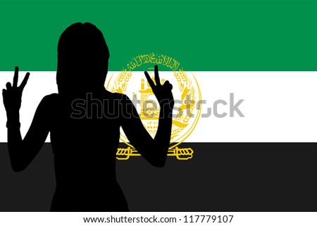 The flag of Afghanistan with the silhouette of a woman with peace signs